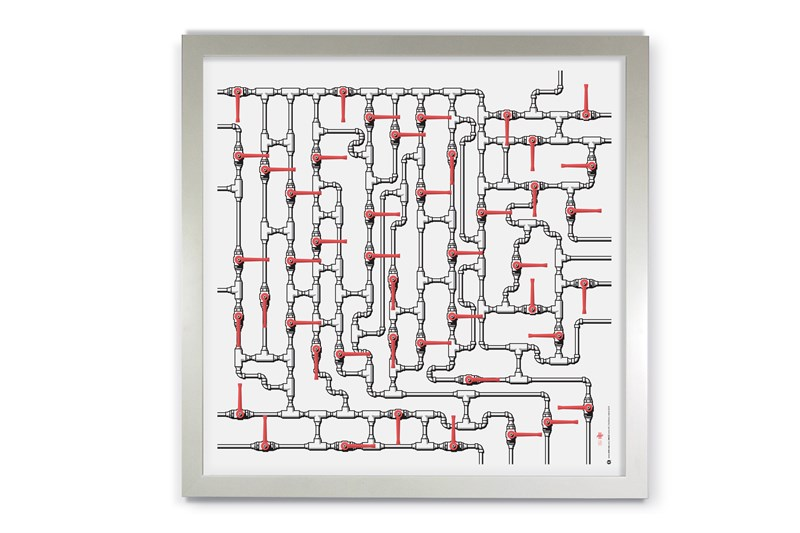 Maze #1 in white satin frame.