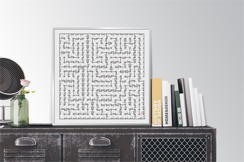 Maze #2 in bookcase (for a better understanding of size).